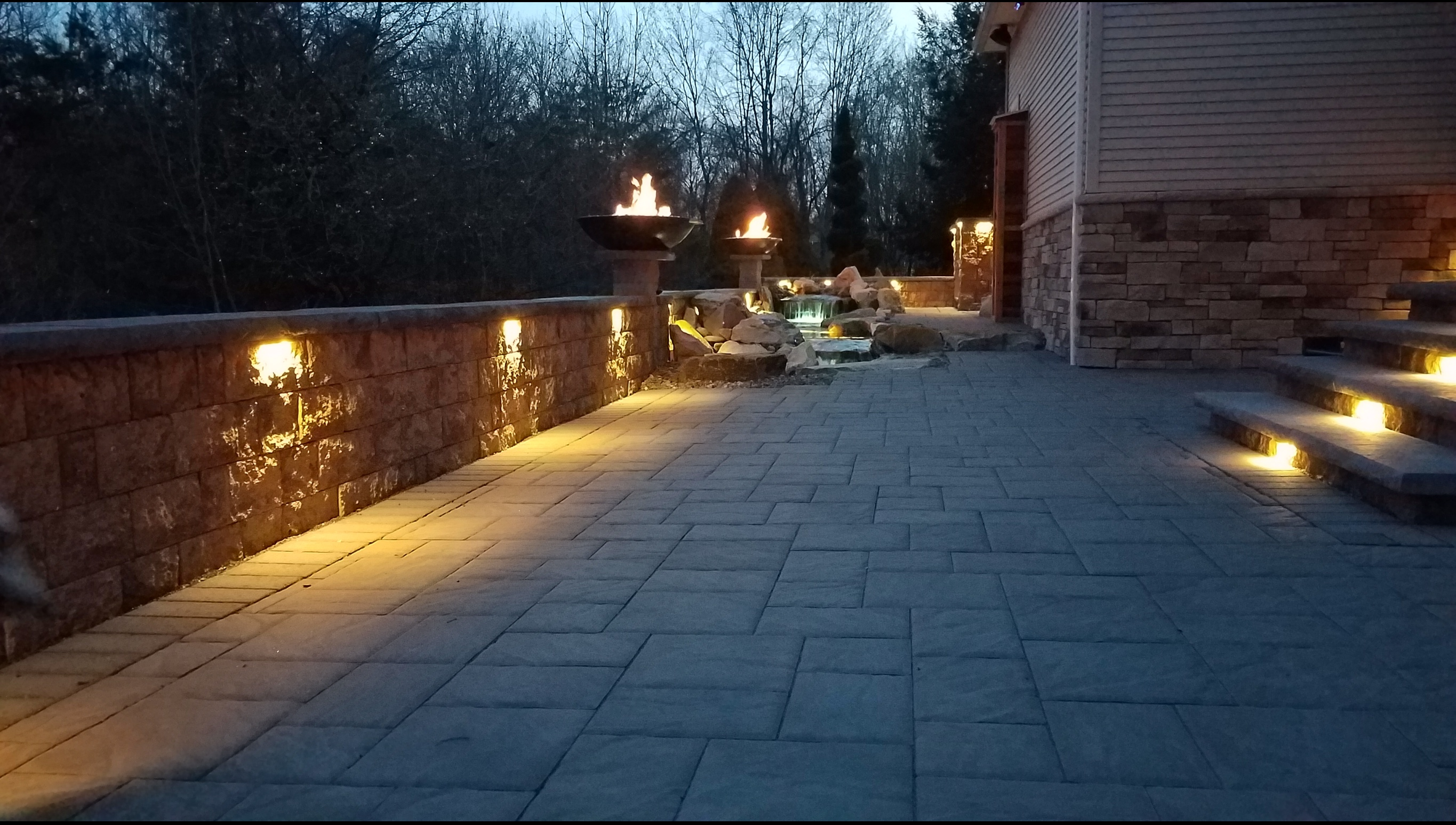 Patio Water Feature Landscape Lighting